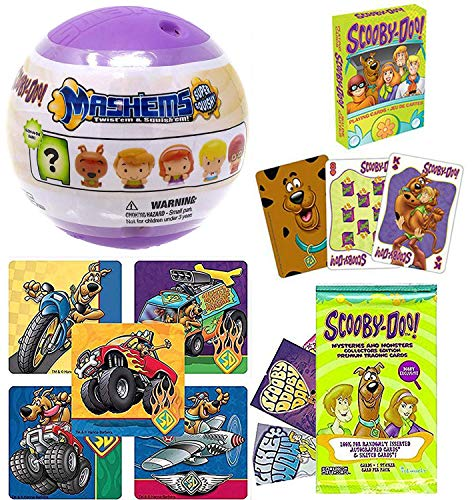 (Groovy Cards Scooby-Doo! Fun & Games Pack Mystery Solving Crew Where are You? Soft Figure + Stickers & Playing Deck Cartoon Trading Cards Action Time Velma, Scooby, Fred, Shaggy, and Daphne Set)