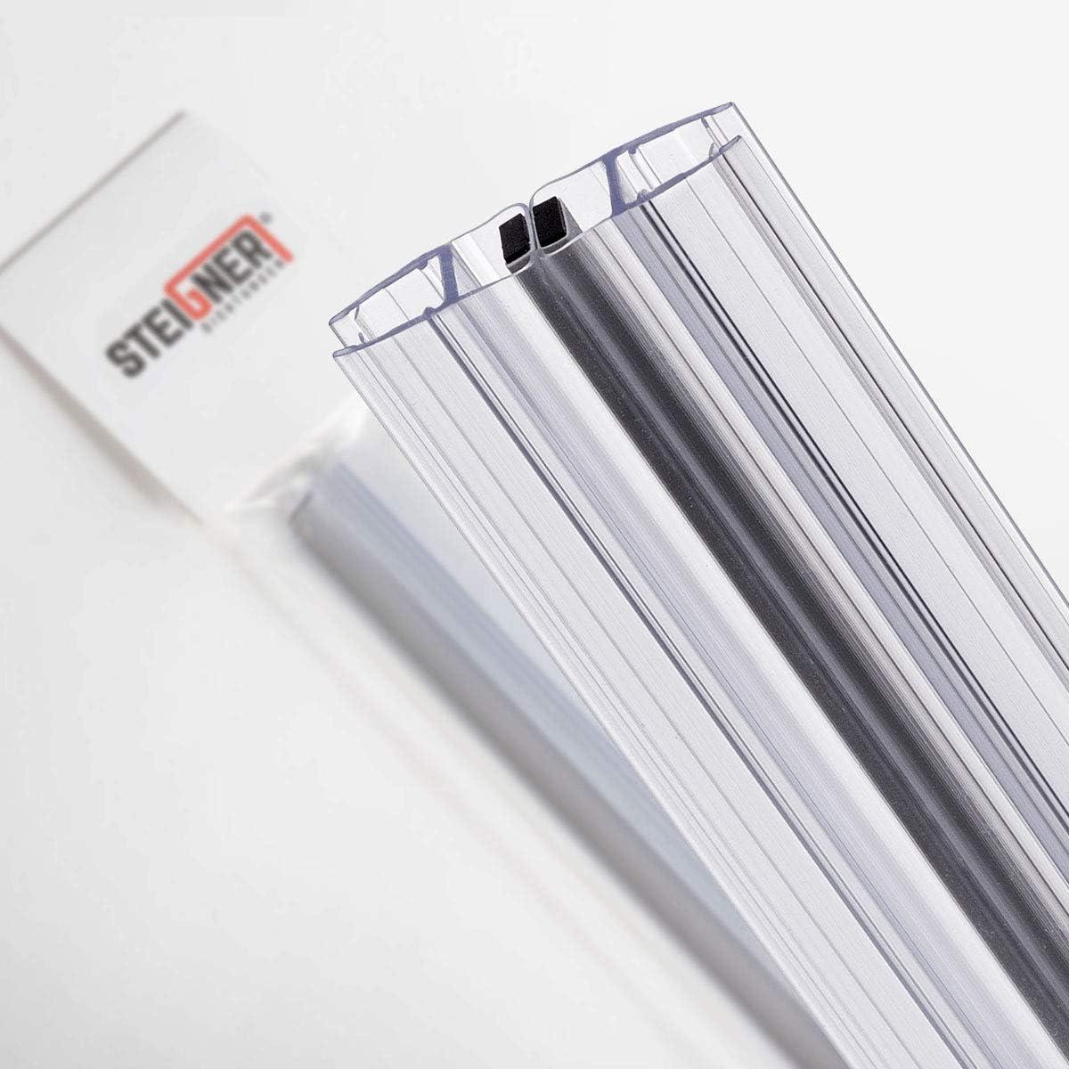 7 mm STEIGNER Kit de Joints Magn/étiques pour les Vitres d/'une /Épaisseur 6 mm 2 pi/éces 8 mm UKM02 180/° 187 cm