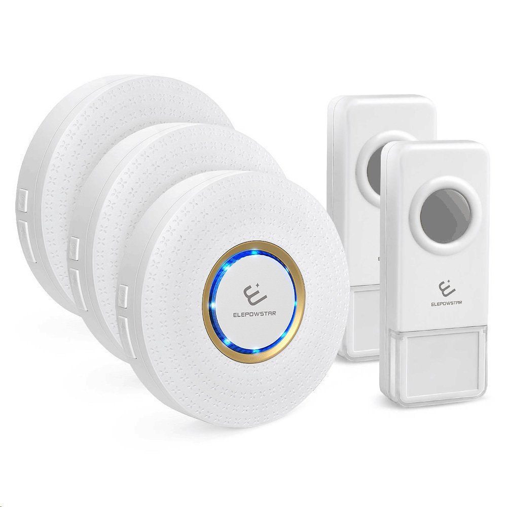 Wireless Doorbell,ELEPOWSTAR Waterproof Door Chime Kit Operating at 1000 Feet Range with 52 Melodies Chimes,3 Plugin Receivers and 2 Push Buttons