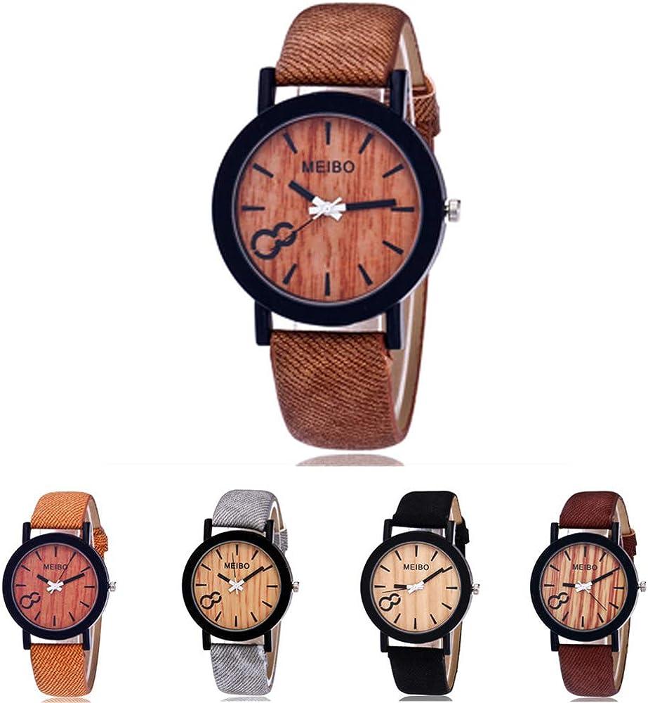 Guarda il bracciale simulazione orologio in legno casual cinturino in pelle color legno orologio da polso da donna in legno Relogio Masculino Nero