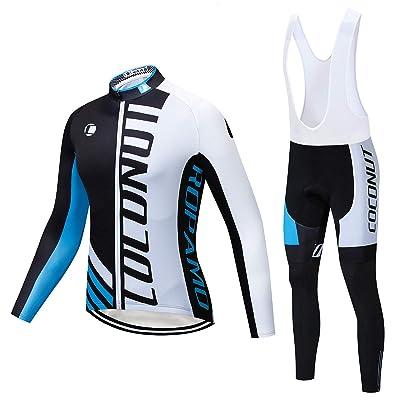UK Winter Fleece Thermal Cycling Suit Long Sleeve Jersey Gel Bib Pad Pants Sets
