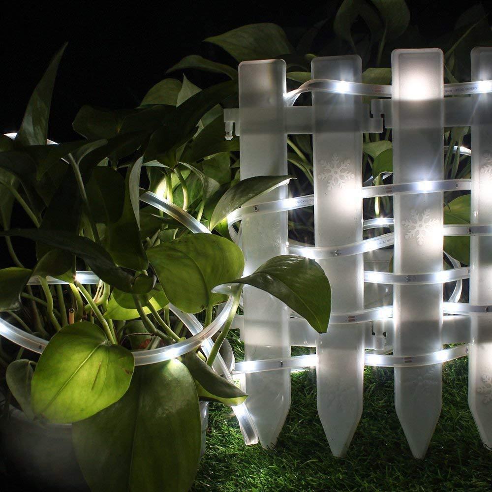 Homes Color Light Kitchen Waterproof IP65 Led Indoor//Outdoor Lighting 16.4ft//5M Flexible Rope Light Using for Gardens elecfan 100 LED Solar Strip Lights Car and Bar