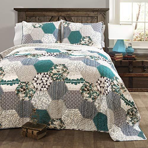 Lush Decor Briley Quilt 3 Piece Reversible Print Hexagon Pattern Patchwork Neutral Bedding Set Full-Queen Turquoise Blue