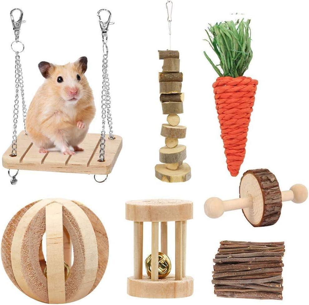 Fulfun - Juego de 7 juguetes para masticar para hámster, cobayas, ratas, chinchillas, juguetes, mancuernas de ejercicio, rodillos, cuidado de los dientes molares de conejos, jerbos