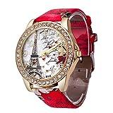 Women's Wrist Watch Vintage Paris Eiffel Tower Crystal Leather Quartz Wristwatch Best Gift (Red -1)