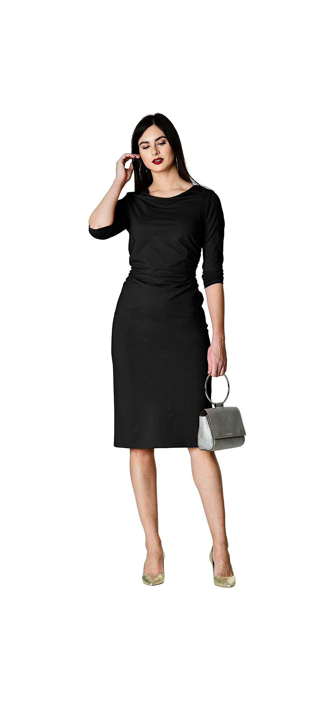 Fx Ruched Pleat Cotton Knit Sheath Dress - Customizable