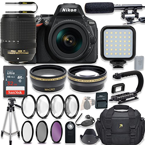 Nikon D5600 24.2 MP DSLR Camera Video Kit with AF-S DX NIKKOR 18-140mm f/3.5-5.6G ED VR Lens + LED Light + 32GB Memory + Filters + Macros + Deluxe Bag + Professional Accessories