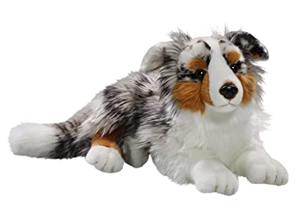 Carl Dick Australian Shepherd Dog Lying 17 inches, 43cm, Plush Toy, Soft Toy, Stuffed Animal 3434