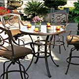 Darlee Ten Star 5 Piece Cast Aluminum Patio Bar Set With Swivel Bar Stools & Glass Top Table