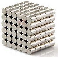 مغناطيس نيوديميوم اسطواني الشكل بقطر 4 ملم وسماكة 3 ملم 100 قطعة لكل عبوة بدرجة مغنطة ان35