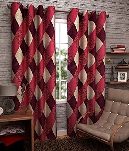 Homefab India (Pack of 2) Eyelet Polyester Window Curtains (5ft) - Maroon