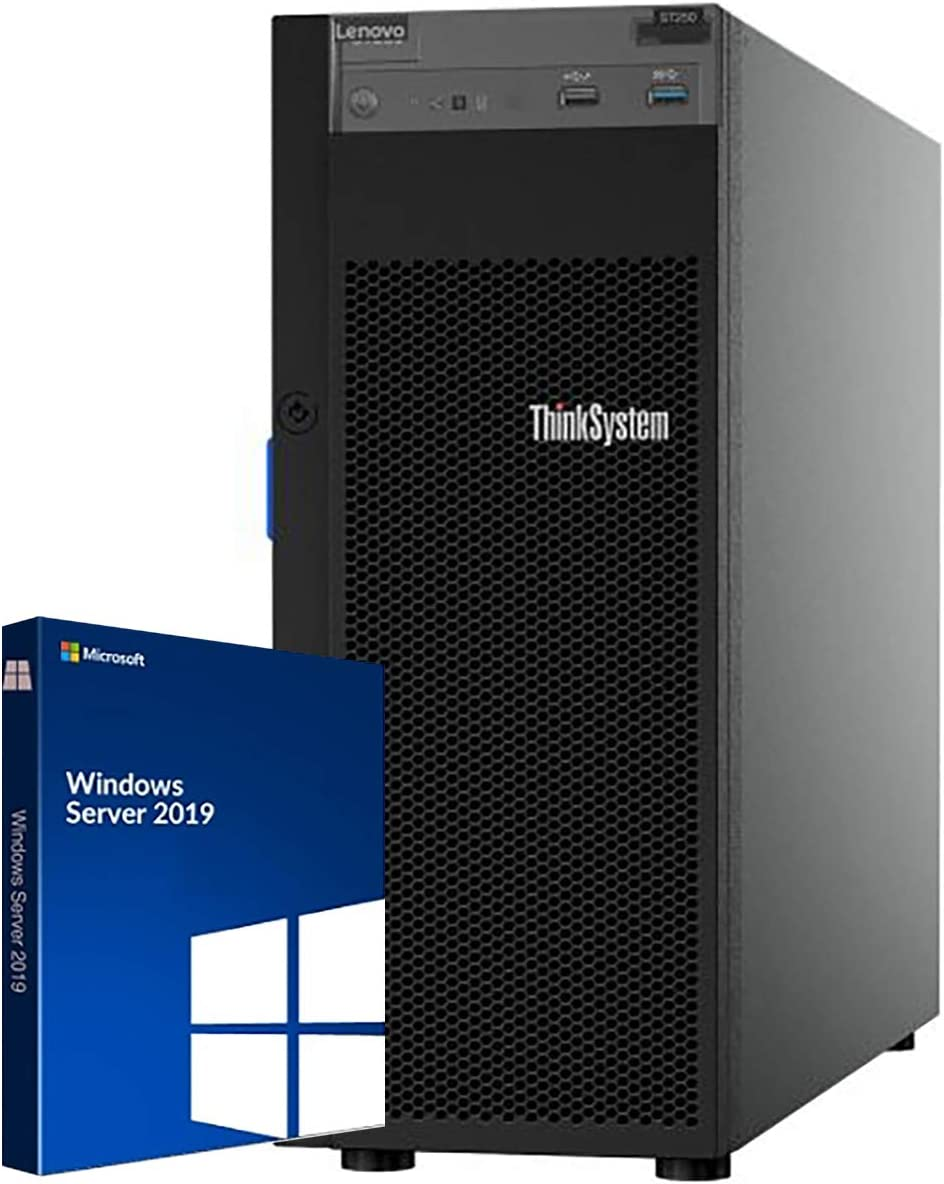 Lenovo ThinkSystem ST250 Tower Server Bundle Including Windows Server 2019, Intel Xeon 3.3GHz CPU, 64GB DDR4 2666MHz RAM, 16TB HDD Storage, JBOD RAID