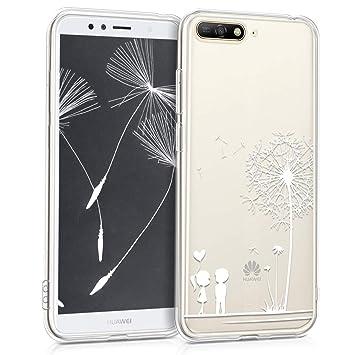 kwmobile Funda para Huawei Y6 (2018) - Carcasa de [TPU] para móvil y diseño de niños y Diente de león en [Blanco/Transparente]