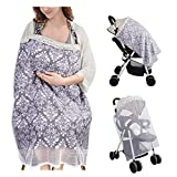 Dahey Nursing Cover Multi-Use Breathable Cotton Breastfeeding Cover Carseat Canopy with Mosquito Net,Full Coverage Nursing Apron for Breastfeeding with Rigid Neckline&Adjustable Strap