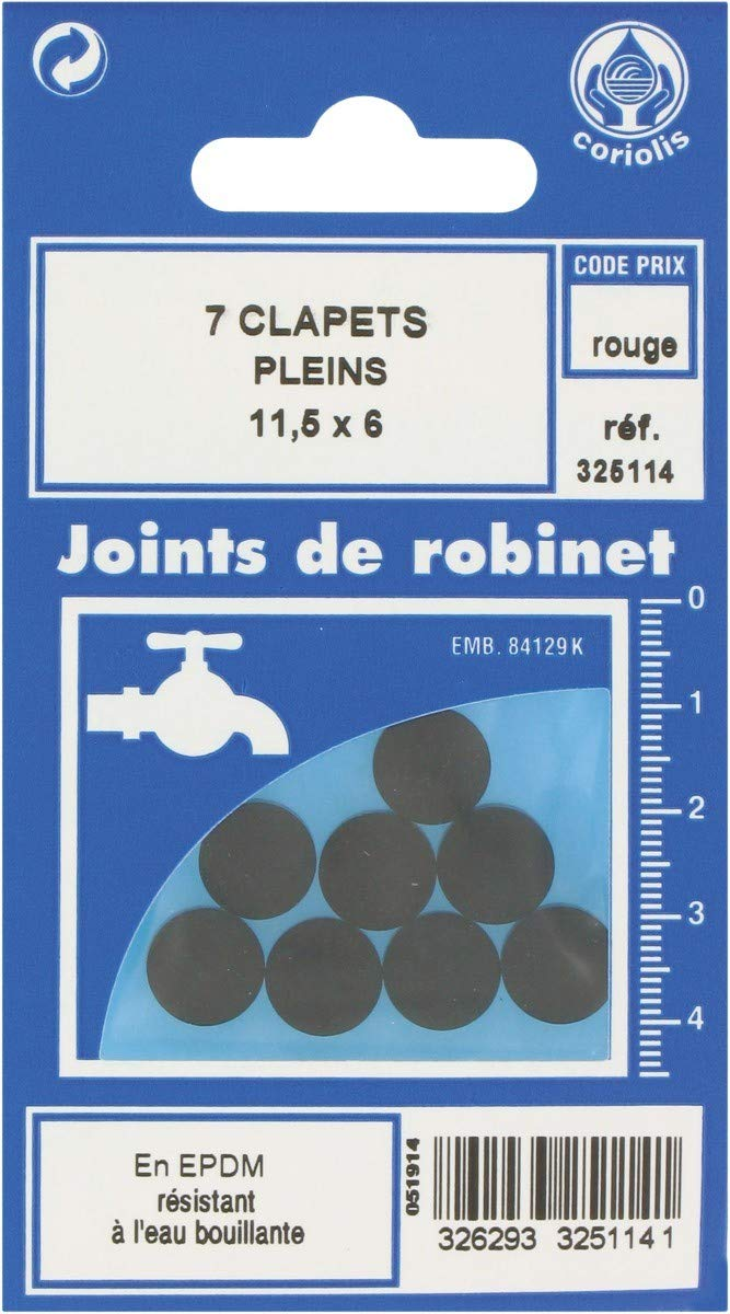 Lot de 8 Joint Clapet plein Robinet GRIPP 547387 10 x 7 mm