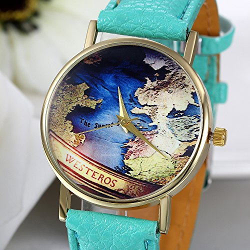 JewelryWe Fashion Womens Leather Wrist Watch World Map Around Dial Watches for Mothers Day Green post thumbnail