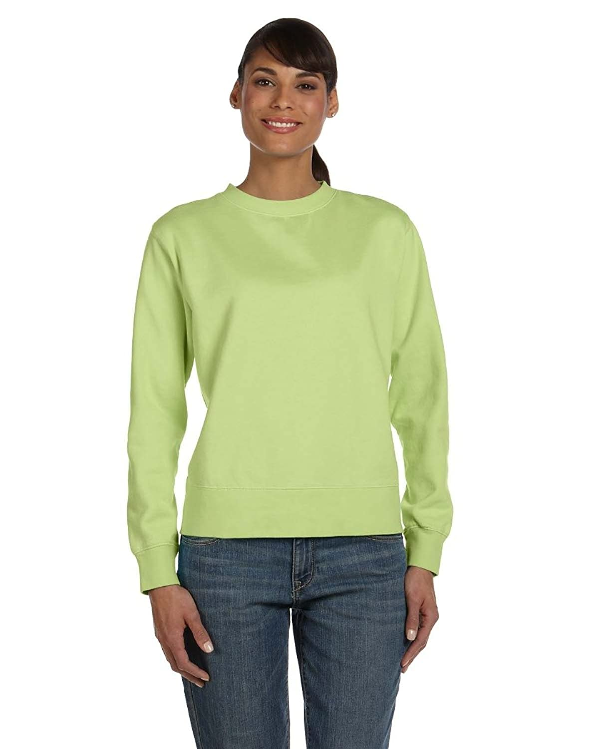 Comfort Colors Ladies' 10 Oz. Garment-dyed Wide-band Fleece Crew - Celedon
