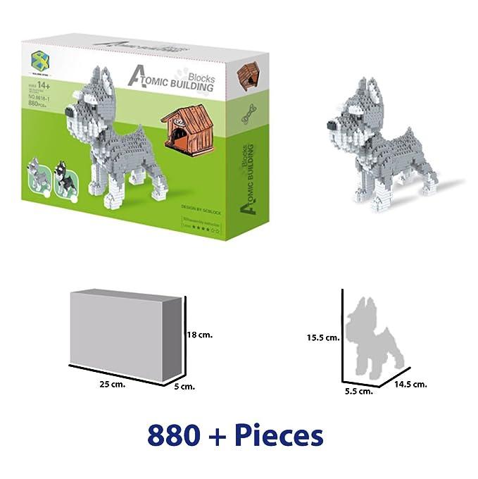 Atomic Building Perro Schnauzer. Figura para armar con nanobloques. 880 piezas.: Amazon.es: Juguetes y juegos