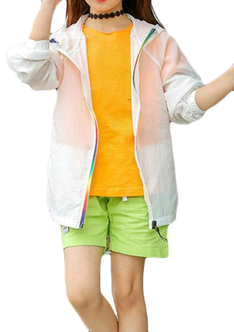 Cromoncent Boys and Girls Pure Color Sunscreen Waterproof Hooded Jacket Trench Coat White 6/7T