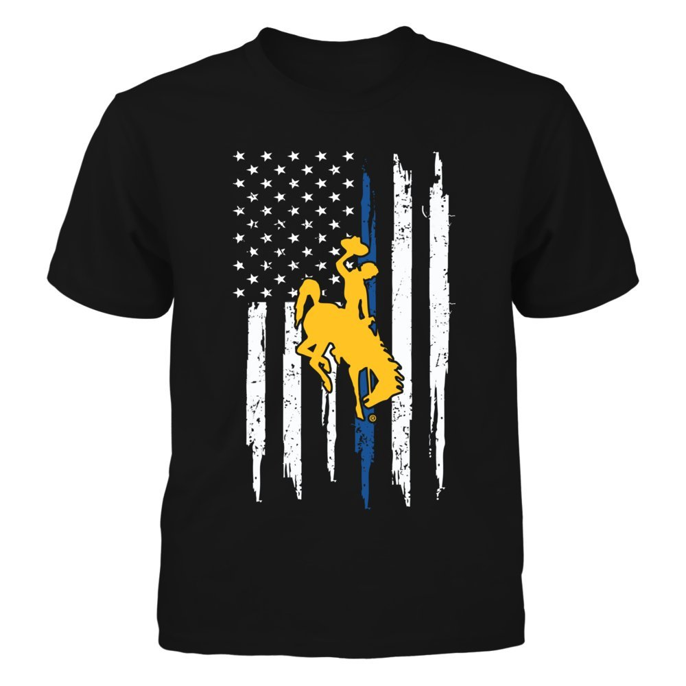Wing Cow T Shirt Nation Flag Thin Blue Line Front