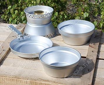 Mil-Tec - Juego de cocina de aluminio (3 ollas, sartén, hornillo, pinzas de parrilla): Amazon.es: Deportes y aire libre