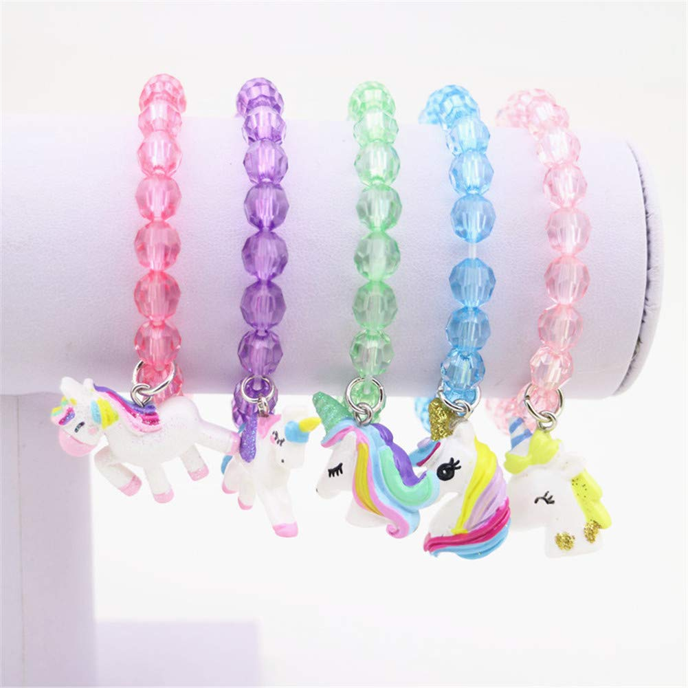 5pc Colorful Unicorn Bracelet, Little Girl Animal Bracelets, Teens Kids Owl Pendant Beaded Bracelet Girl Party Favor Pretend Play Bracelet