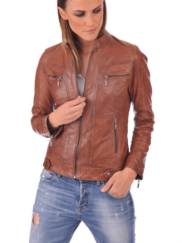 FS Lambskin Leather Women's Bomber Biker Jacket Small Brown by Fashion Store (Image #2)