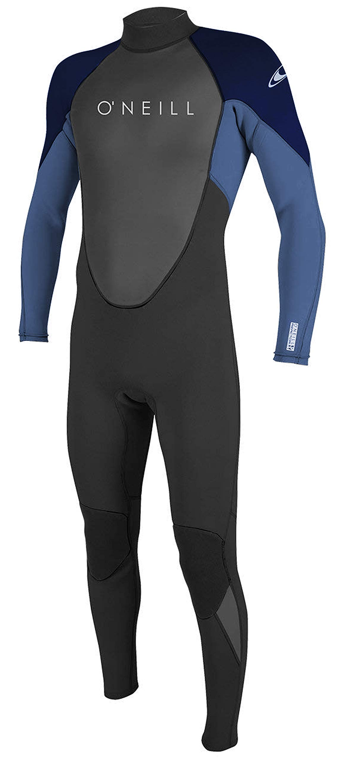 O'Neill Men's Reactor II 3/2mm Back Zip Full Wetsuit, Medium, BLK/DSTYBLU/Slate