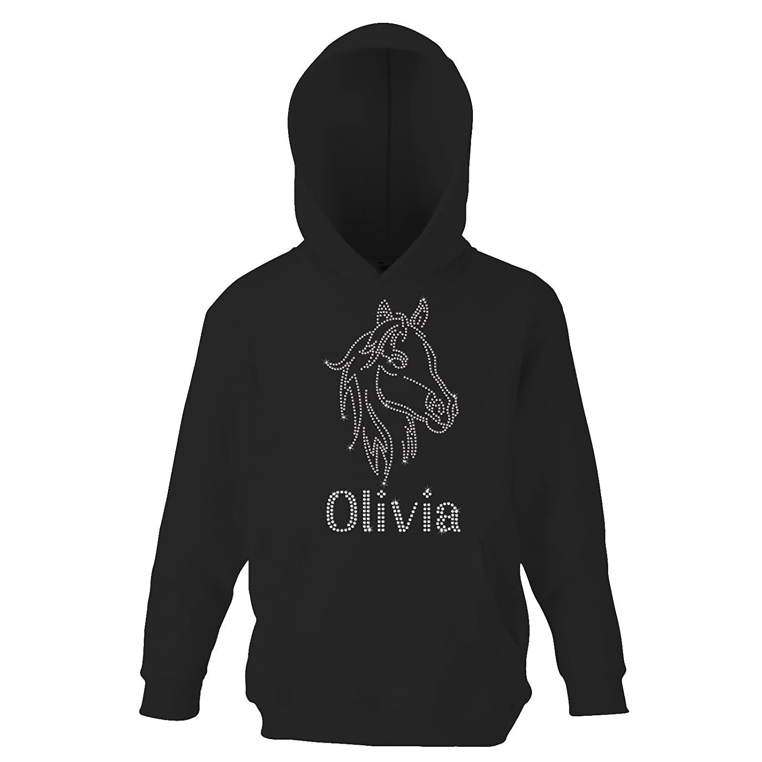 Black CLEAR 9-11 Years Girl's Horse Face riding Personalised Hoodie Crystal Dance Jumper Leotard kids Hoody(K) By Varsany