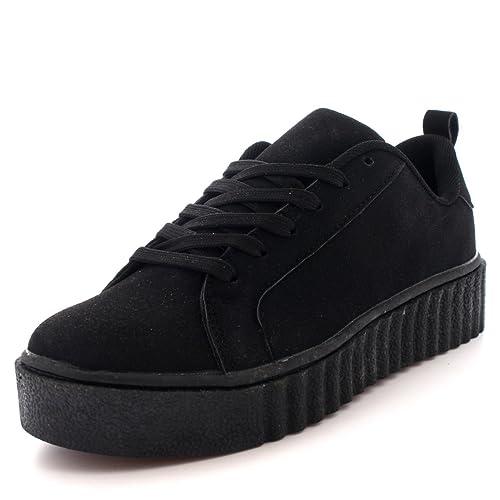 e7030f245e1ba Mujer Fornido Creepers Plataforma Ata para Arriba Zapatillas Zapatos  Entrenadores  Amazon.es  Zapatos y complementos