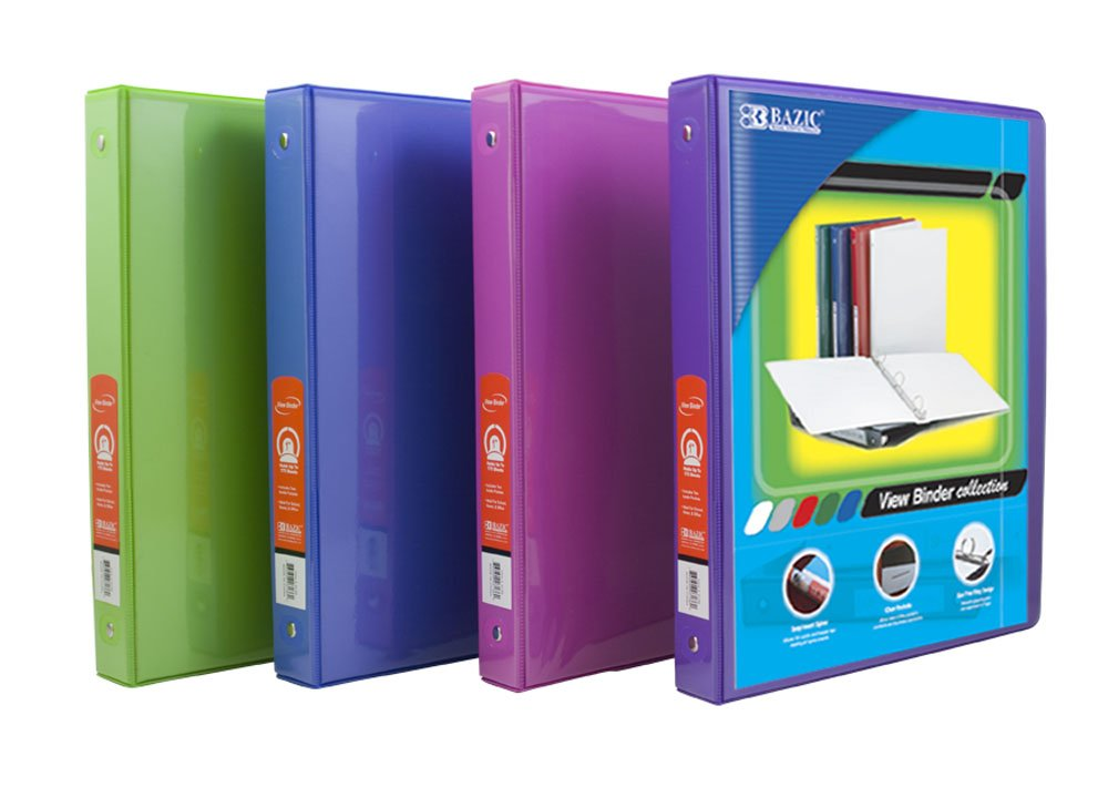 BAZIC 1/2'' Bright Color 3-Ring View Binder w/ 2-Pockets, Case Pack 48