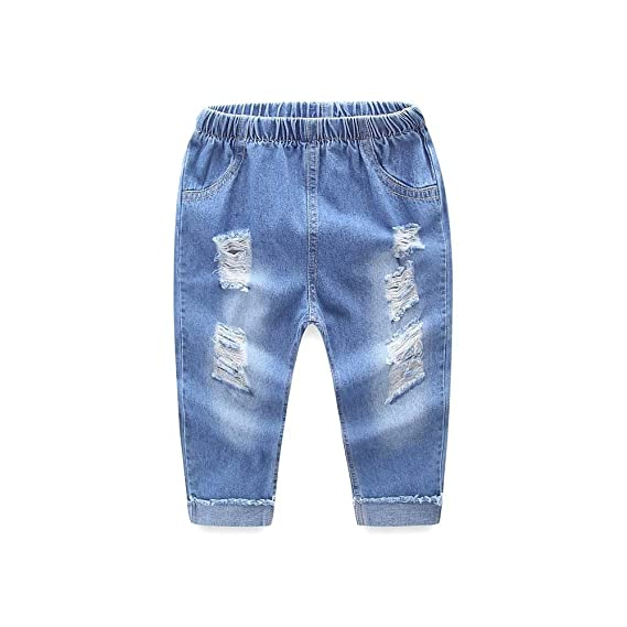 TAOtTAO Kinder Kid Infant Jungen Mädchen Loch Jeans Denim Casual Lange Hosen Kleidung
