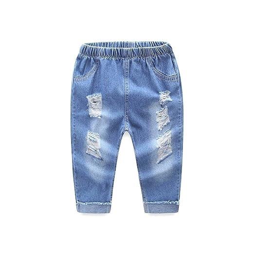 e709c8bf8fde Amazon.com  FORESTIME Fashion Kid Infant Boys Girls Hole Jeans Denim ...