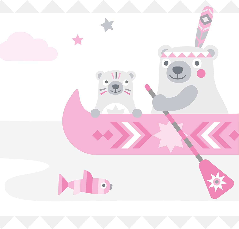 "anna wand design cenefa infantil adhesiva mapache y liebre /""Little Indians/"" azul claro//gris 450 x 11.5 cm dise/ño de indias zorro"