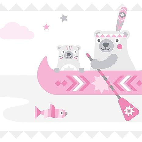 anna wand Bordüre selbstklebend Little Indians ROSA/GRAU - Wandbordüre  Kinderzimmer/Babyzimmer mit Indianermotiven & Tieren - Wandtattoo  Schlafzimmer ...