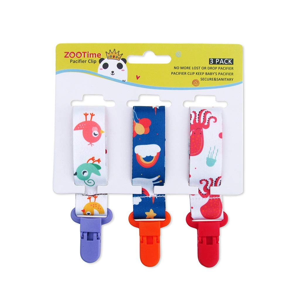 1 Cutebility Dummy Clips Baby Pacifier Clips 3 Pack Pacifier Holder Straps for Girls Plastic Teething Clips Modern Unisex Design
