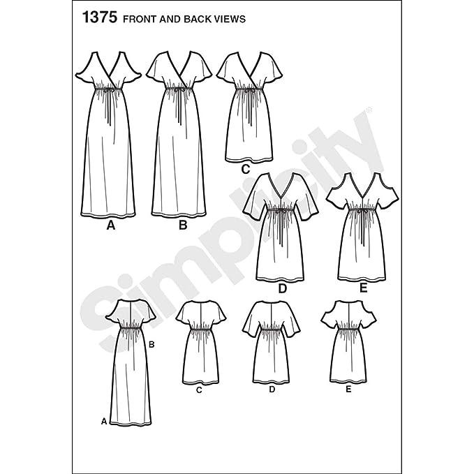 Simplicity 1375 Tamaño a fácil para Coser Vestidos de Sudadera de Mujer patrón de Costura para: Amazon.es: Hogar