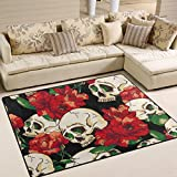 Naanle Floral Skull Area Rug 5'x7', Skull and Flowers Day of the Dead Polyester Area Rug Mat for Living Dining Dorm Room Bedroom Home Decorative