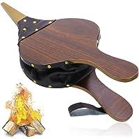 Bestcool Fuelle para chimenea de 40 x 7.5 pulgadas camping fuelle de madera para chimenea barbacoa 40 remaches boquilla de metal soplador de le/ña con correa para colgar amarillo