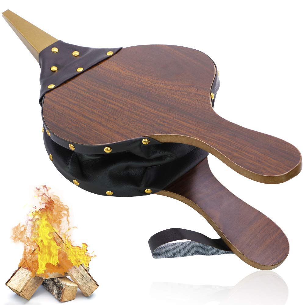 Wood Fireplace Bellows 17''x7.5'' with Hanging Leather Strap, Brown Air Bellower for Outdoor BBQ and Camping by SWVIIT