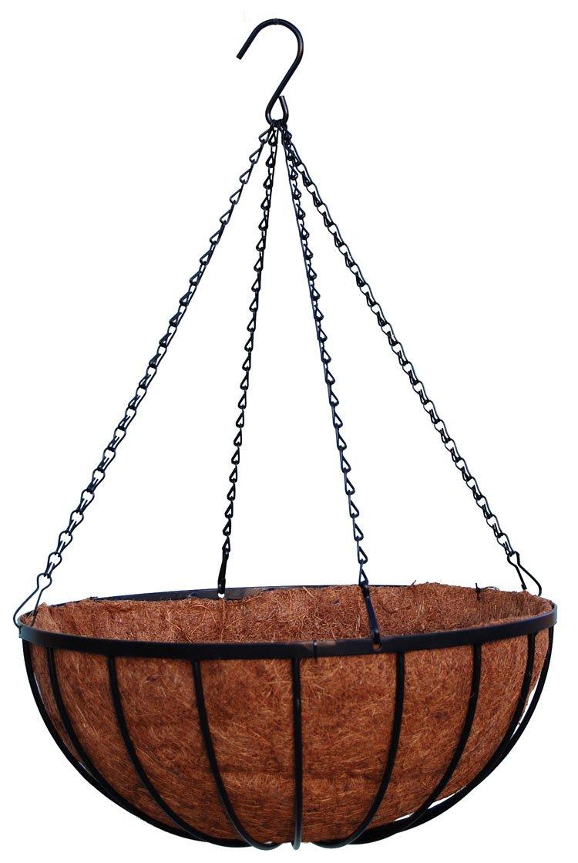"18"" Georgian Rigid Iron Hanging Basket (930) with Coco Moss Liner"