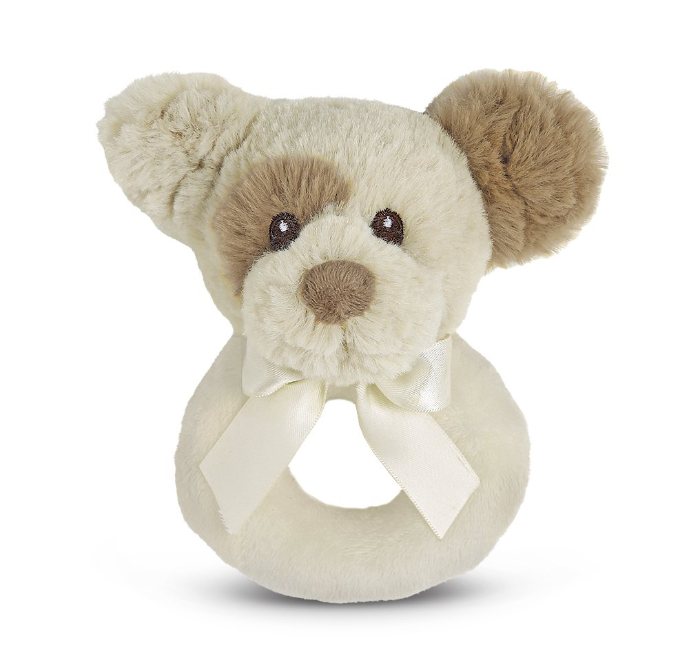 Bearington Baby Lil' Spot Plush Stuffed Animal Puppy Dog Soft Ring Rattle, 5.5 5.5 Bearington Collection