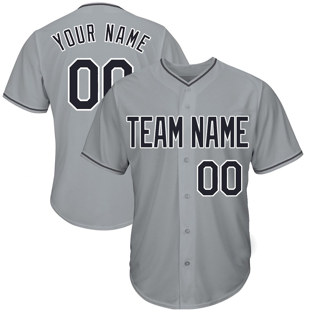Custom Women's Gray Baseball Jerseys Button Down with Embroidered Team Name Player Name and Numbers,Black-White Size M by DEHUI