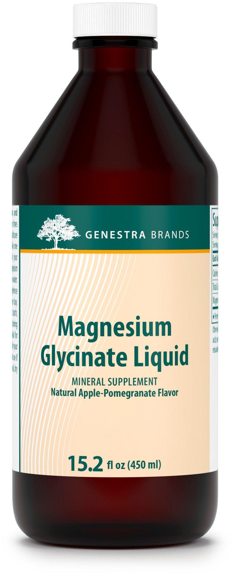 Genestra Brands - Magnesium Glycinate Liquid - Apple Pomegranate Flavor - 15.2 fl. oz.