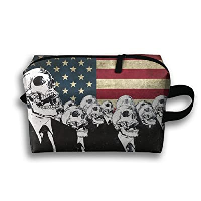 Skull Standing Under The Flag Multifunction Portable Pouch Waterproof Travel Bag