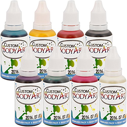 custom-body-art-1-oz-8-color-primary-airbrushwater-base-face-body-paint-set