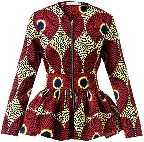 Shenbolen Women African Print Shirt Ankara Long Sleeves Top(C,XX-Large)
