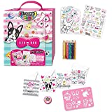 Kids Coloring Set - Travel Toys On The Go For Girls - Pet Theme Carrying Case with Passcode Lock, Erasable Coloring Pencils, Washi Tape, Blank Card Set, Stencil, Stickers, Booklet by Hot Focus