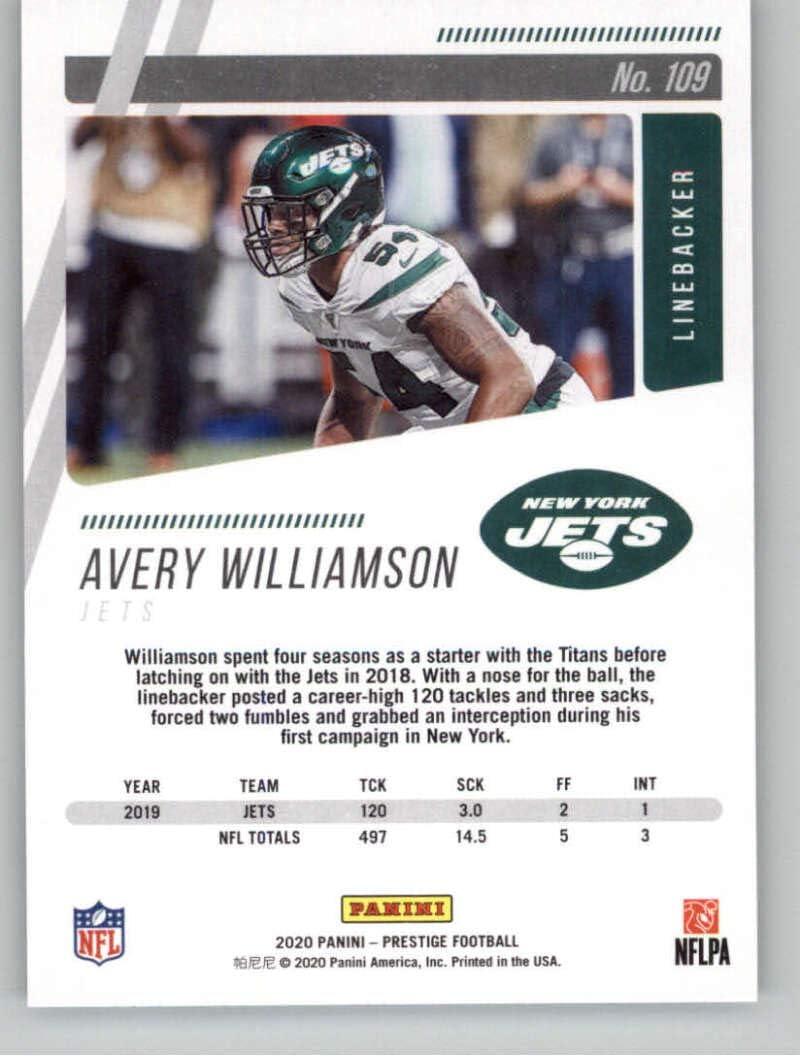 2020 Panini Prestige #109 Avery Williamson New York Jets Football Trading Card
