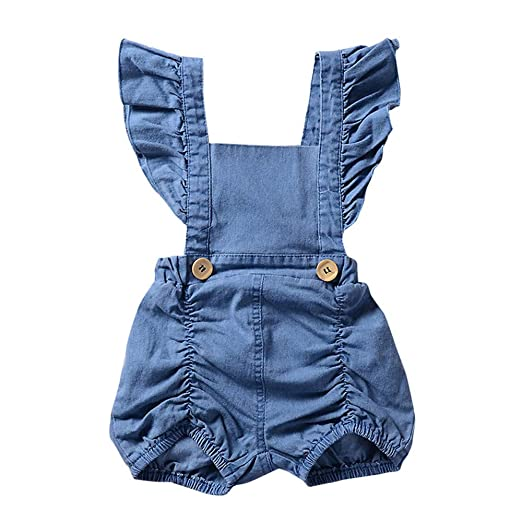 dfdc11b0f1 Amazon.com  ❤ Mealeaf ❤ Newborn Infant Baby Girl Denim Ruffles Romper  Jumpsuit Sunsuit Outfits Clothes 6-18 Months  Clothing